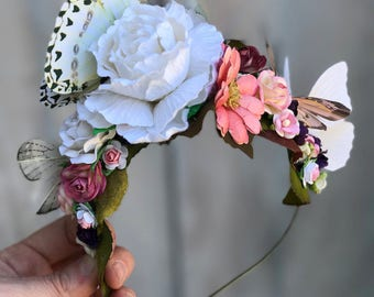 Pink and White Butterfly Fairy Crown - Flower Crown - Festival Wear - Flower Headband - Butterfly headband - Fairy Crown. READY TO SHIP.