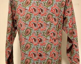 Vintage 1980's Designer SERGE AZAR Shirt Multi-color Paisley Long Sleeve Button Down Made in PARIS Excellent Condition Men's Size Large