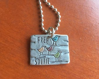 Hand Stamped Jewelry Free Spirit Bird Hand Made Metal Jewelry with words Jewelry with Meaning Quote Charm Gypsy Soul Sister Be Brave Courage