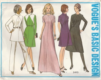70s A-Line Tunic & Dress Pattern Vogue 2413 Size 12 1/2