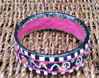 Gypsy Girl Plus Size Bangle Bracelet 2 7/8 across pinks oranges checkerboard scrolls funky recyled