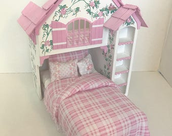 TICKLED PINK PLAYHOUSE Bed Dollhouse Miniature Custom Built Hand-Painted, Artisan, Pink Roses on White