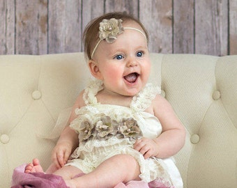 Lace Romper, 3 to 9 Month Size, Headband, Sash, Baby Girl, Vintage Lavender floral headband and sash set, 6 Month Photo Prop, RTS