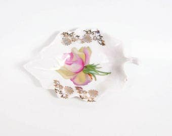 Vintage German Porcelain Leaf Dish Pink Rose Bowl Made in Germany Nut Candy Dish Ring Holder German Handpainted