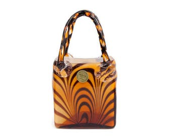 Vintage Hand Blown Art Glass Purse Block Crystal Tiger Striped Vase Animal Print Planter Mouth Blown Handbag Sculpture