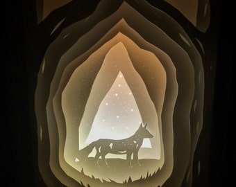 Fox in the Forest Paper Light Box Diorama
