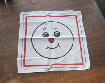 Japanese Vintage Happy Face Hankie~'70s White/Black/Red Smiley Emoticon Gift Hankie~Kitsch Vintage Gift Hankie; Free Shipping/U.S.