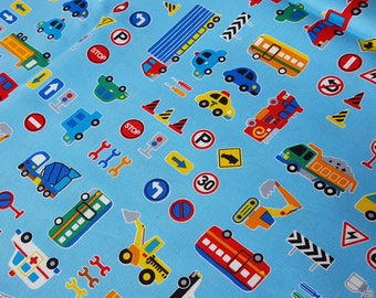 Boys fabric, cars and road sign in blue, fire engine , ambulance, school bus, truck, cement mixer, printed in Japan