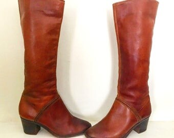 Vintage Tan Leather Made In Brazil Boots