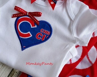 Chicago Cubs Baby - Girl's Baseball Bodysuit - MLB Chicago Cubs Inspired Bodysuit - Newborn to 24 Months Size