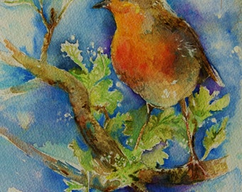 Robin Redbreast Painting - Original watercolor British Garden  birds