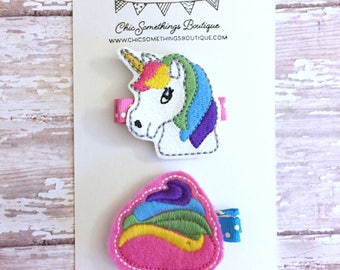 Unicorn hair clip, unicorn hair bow, unicorn bow, unicorn poop clip, unicorn clippie, unicorn poop bow, rainbow pop clip, unicorn bow
