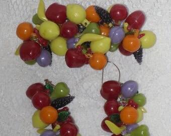 Tropical Fruit Earrings & Brooch Pin Set Dangle Vintage Fashion Jewelry