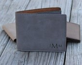 Personalized Bifold Wallet, Vegan Leather, Engraved Wallet, Christmas Gifts for Men, Groomsmen Gifts, Best Man Gift, Monogrammed Wallet