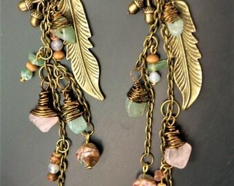 Feather Stone Charm Earrings - Jewelry Stones Antique Bronze Vintage Dangly - Bohemian Gypsy Hippie- Rose Quartz Aventurine Jasper Amazonite