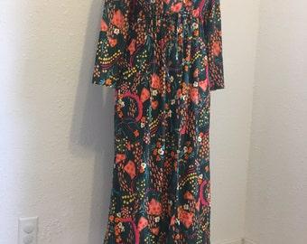 Vintage Dress, Mod Dress, Long Sleeve Dress, Knee Length Dress, Floral Dress, Green Dress