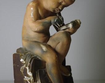 Antique 1900 Plaster Child Baby Statue