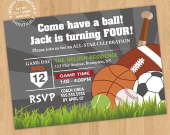 Sports Balls Birthday Invitation Digital Printable PDF template, instant download, Edit with Adobe Reader DIY, All Star, mvp boy girl