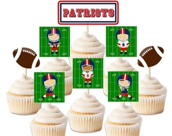 Superbowl Patriot's inspired cupcake toppers, DIY printable toppers, Superbowl party decor, Superbowl party, Superbowl cupcake toppers