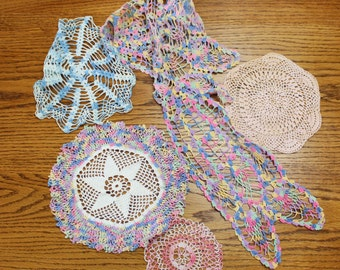 Lot Crocheted Doiles- Pastel Colorful- Set of Six Vintage/ Antique- Dresser Cloths, Different Sizes- For repurposing