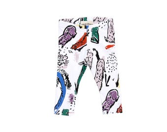 Animal Kingdom Leggings on White - Printed Leggings - Organic - Kid's Leggings - Baby Gift - Eco - Slow Fashion - Thief&Bandit®