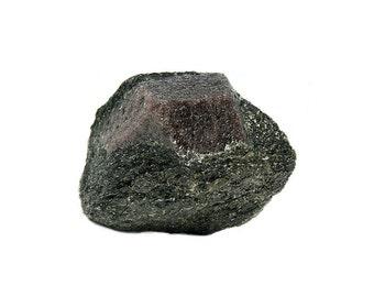 Garnet Crystal Red Almandine Gem Garnet in Biotite Schist Rock Matrix Raw Gemstone Mineral Specimen mined in Ontario, Sharp Facets and Faces