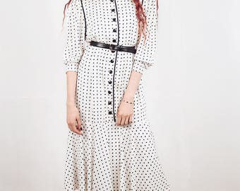 Polka dot dress 1980 s inspired from the 1930 s,Size medium , spring dress, maxi dress.white polka dot  dress