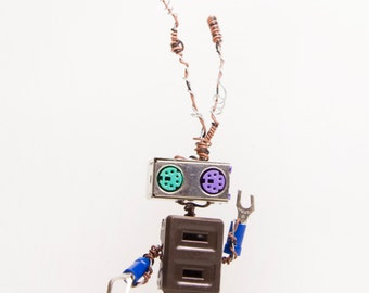 Stecker, Bot Number: 2016474. Robot Art Doll. Wire Sculpture. Found Object. Made From Recycled Parts. Lee Bots