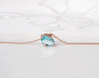Birthstone necklace, Aquamarine necklace,rose gold plating,Bridesmaid Gift, light blue pendant, March Birthstone, long necklace