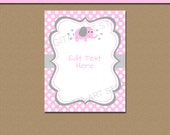 PRINTABLE Girl Baby Shower Sign - Elephant Baby Shower Decor - Gift Table Sign - EDITABLE Welcome Sign - Pink and Grey Elephant Decorations