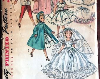 1950's Simplicity Wardrobe, Wedding Dress, Cape, Full Dress, for Revlon and Cissy Doll Pattern- UC/FF - No. 1808
