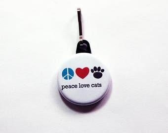 Cat zipper pull, backpack zipper pull, zipper pull, purse charm, bag charm, backpack charm, Cat Lover, peace love cats, stocking stuffer