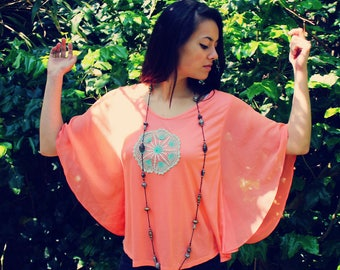 Bohemian Top Batwing Sleeves XXS - M Doily Blouse Sheer Shirt Boho Hippie Women's Upcycled Clothing Recycled Eco Friendly OOAK