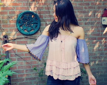 Bohemian Top Off Shoulder XXS -  S Ruffled Shirt Boho Hippie Women's Upcycled Clothing Recycled Eco Friendly OOAK