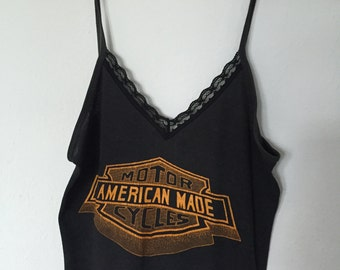 SALE- Vintage American Made Motorcycles- Vintage Tee - Spaghetti Strap tank Top- Size Small or Medium