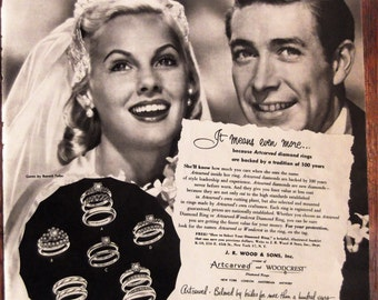 ART CARVED Diamond Wedding Rings Original 1950's Vintage Magazine Advertisement  Ready To Frame Additional Ads Ship Free