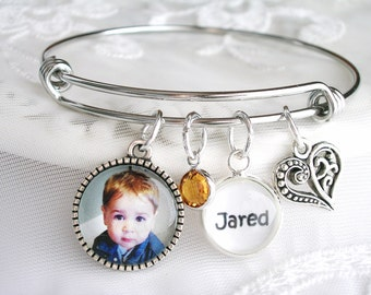 Photo Bracelet Picture Bracelet Custom Photo Gift Personalized Mother's day Gift for Grandmom Birthstone Bracelet Gift for Wife Mom Jewelry