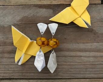 orange geometric earrings with handblown glass beads