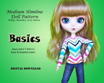 The Basics Jeans & T shirt pattern for Medium Slimline dolls: pullip, momoko, 25cm Obitsu