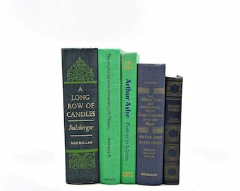 Antique BOoks, Blue Green Decorative Books, Wedding Decor, Table Settings, Vintage BOok Collection, Vintage BOok Decor Set Interior Design