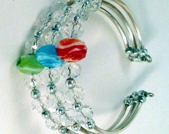 Handmade Crystal Memory Wire Cuff Bracelet