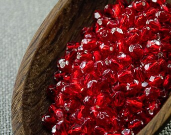 Red beads jewelry supplies Siam Red Czech Fire Polished Beads 4mm (50) Silver lined beads Czech beads 4mm for beading jewelry making