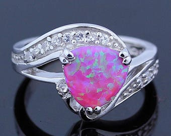 Pink Opal & Topaz Ring // 925 Sterling Silver // Ring Size 7 // Handmade Jewelry