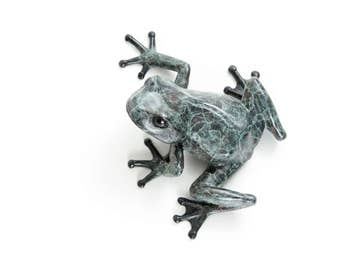 Limited edition bronze tree frog (looking left) No.16 Black/turquoise