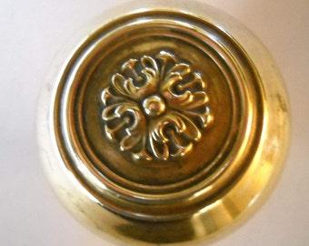 Vintage Brass Door Knob, Ornate Floral Door Knob, Country Home, Replacement Hardware, Heavy Brass Flower Knob