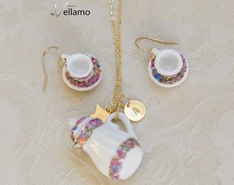 Personalized teacup jewelry, custom initial tag, pendant and earrings: delicate tea pot pendant, teacup earrings, porcelain, gold filled