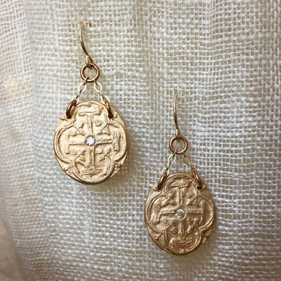 Mini Medallion Bronze and Gold Earrings