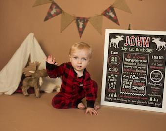 Lumberjack First Birthday Chalkboard Sign - Moose Chalkboard Sign - Milestone Sign - Printable Stats Sign - 1st Birthday Custom Board