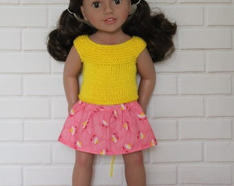 """Yellow Knitted Top Pink Floral Skirt - Dolls clothes to fit 20"""" Australian Girl dolls & 18"""" American Girl doll and friends"""