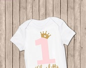 Personalized First Birthday Outfit, One Bodysuit, First Birthday, First Birthday Iron-On, Pink and Glitter Gold, Birthday Iron On